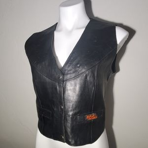 Biker Vest w/ Harley Davidson Patches